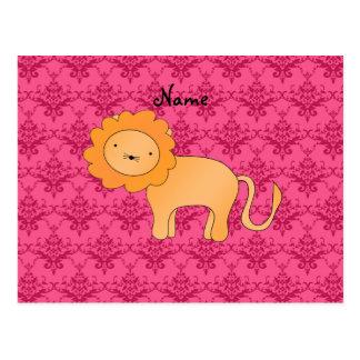 Damasco lindo conocido personalizado del rosa del tarjeta postal