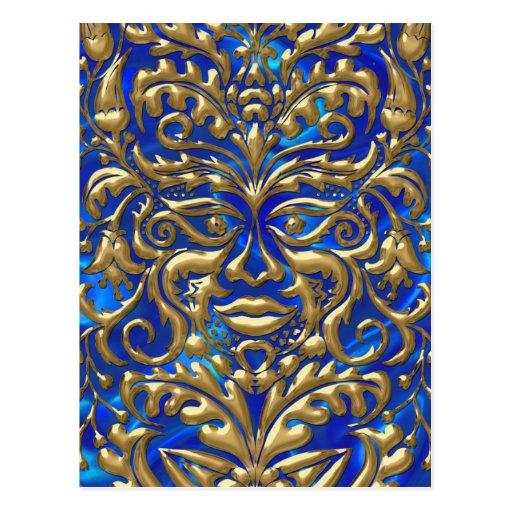 damasco líquido de GreenMan del oro 3D en borrachí Postal