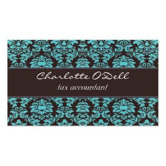 damasco; marrón azul tarjetas de visita