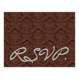 """Damasco marrón RSVP que casa la tarjeta de la Invitación 4.25"""" X 5.5"""""""