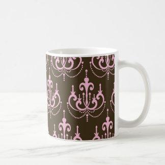 damasco marrón y rosado del francés de la lámpara tazas