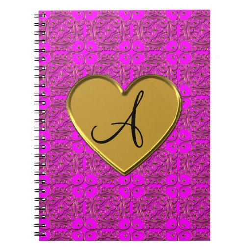 Damasco marroquí rosado de neón del monograma cuadernos