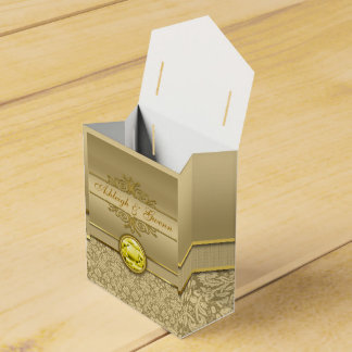 Damasco metálico del oro de la falsa piedra caja para regalo de boda