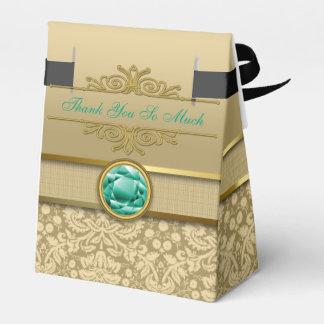 Damasco metálico del oro de la falsa piedra cajas para regalos