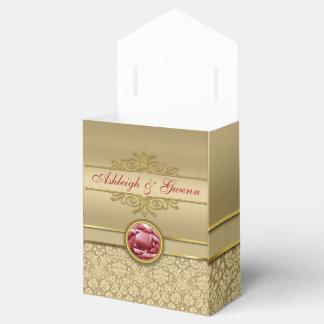 Damasco metálico del oro de la falsa piedra cajas para regalos de boda