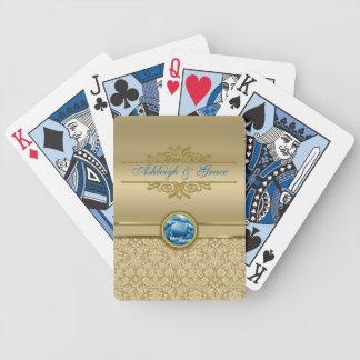 Damasco metálico del oro de la falsa piedra precio baraja cartas de poker