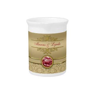Damasco metálico del oro de la falsa piedra precio jarras para bebida