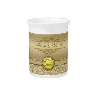 Damasco metálico del oro de la falsa piedra precio jarras de beber