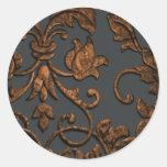 Damasco metálico grabado en relieve, cobre etiquetas redondas