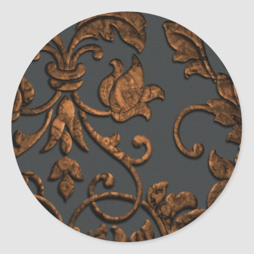 Damasco metálico grabado en relieve, cobre pegatina redonda