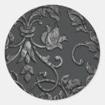 Damasco metálico grabado en relieve de la mirada, pegatina redonda