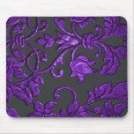 Damasco metálico grabado en relieve, púrpura alfombrillas de ratón