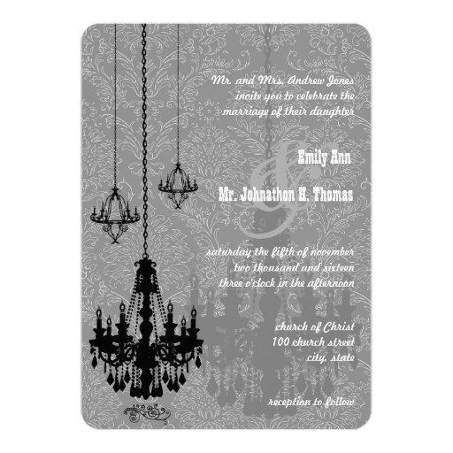 Damasco metálico lámparas de la plata negra de la invitación 12,7 x 17,8 cm