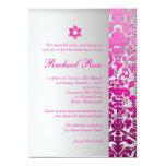 """Damasco/Mitzvah/rosa/plata de la flora de Invitación 5"""" X 7"""""""