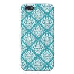Damasco moderno elegante del azul de la flor del e iPhone 5 cárcasas