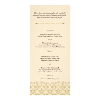 Damasco moderno en el menú de marfil del boda del tarjeta publicitaria