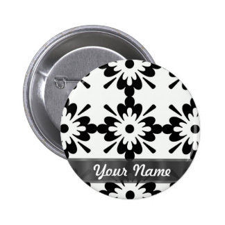 Damasco moderno negro y blanco pin redondo 5 cm