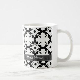 Damasco moderno negro y blanco taza de café
