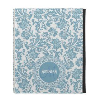 Damasco-Monograma floral azul y blanco en colores