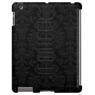 Damasco-Monograma floral negro elegante de Monoton