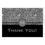 Damasco-Monograma floral negro Felicitaciones