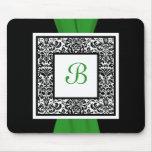 Damasco Mousepad del negro, del verde, y blanco de Tapetes De Ratones