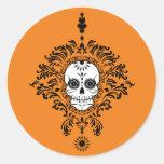 Damasco muerto - pegatinas elegantes del cráneo pegatina redonda