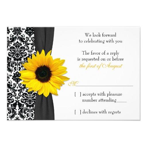 Damasco negro amarillo del girasol que casa la con invitacion personal