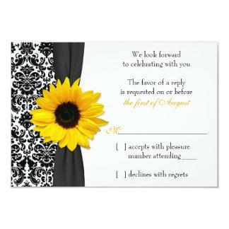 Damasco negro amarillo del girasol que casa la invitacion personal