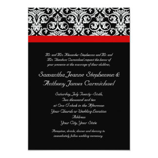 """Damasco negro/blanco con acento rojo encantador invitación 5"""" x 7"""""""