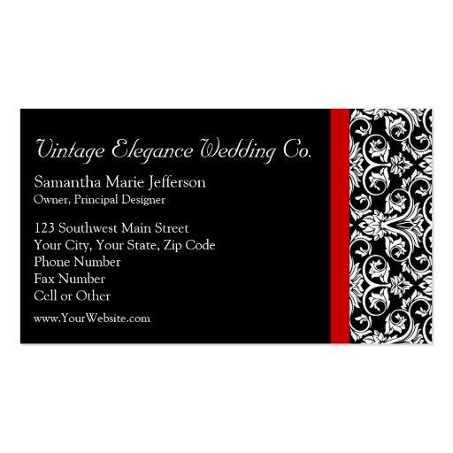 Damasco negro/blanco con negocio de moda rojo del  tarjetas de visita