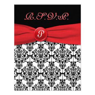 Damasco negro con la tarjeta roja de RSVP de la am Comunicado