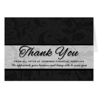 Damasco negro de encargo del aprecio del cliente tarjeta de felicitación