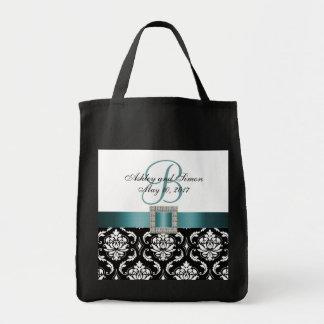 Damasco negro de la turquesa personalizado casando bolsa tela para la compra