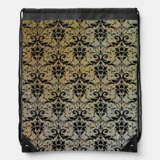 Damasco negro de lujo en mirada sellada de la text mochilas