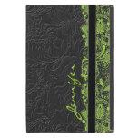 Damasco negro de Monotones del vintage y cordón iPad Mini Protectores