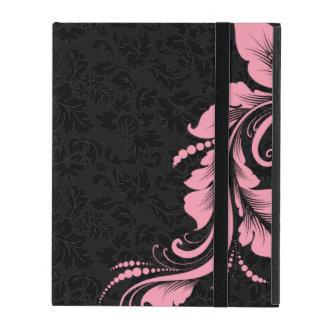 Damasco negro de Monotones y cordón floral rosado iPad Fundas