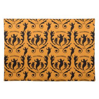 Damasco negro del fantasma en el naranja manteles individuales