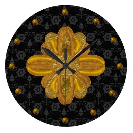 Damasco negro elegante con el reloj de pared del o