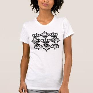 Damasco negro elegante de la corona camisetas