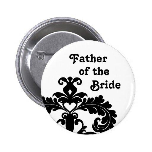 Damasco negro en el padre blanco del boda de la no pins