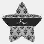 Damasco negro gris conocido personalizado calcomanías forma de estrellas personalizadas