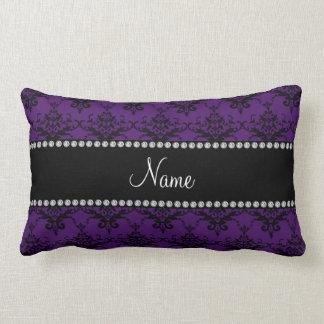 Damasco negro púrpura conocido personalizado almohada