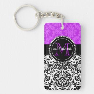 Damasco negro púrpura elegante personalizado llavero