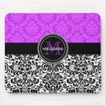 Damasco negro púrpura elegante personalizado tapetes de ratones