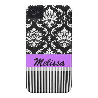 Damasco negro púrpura personalizado rayado iPhone 4 Case-Mate fundas