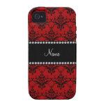 Damasco negro rojo conocido personalizado iPhone 4 carcasas