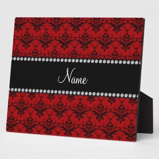 Damasco negro rojo conocido personalizado placa para mostrar