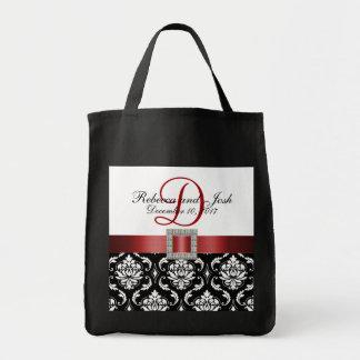 Damasco negro rojo personalizado casando el tote bolsas