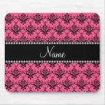 Damasco negro rosado conocido personalizado tapetes de raton